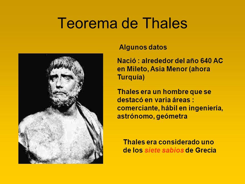 Teorema de Thales Nació : alrededor del año 640 AC en Mileto, Asia Menor (ahora Turquía) Thales era considerado uno de los siete sabios de Grecia Algu