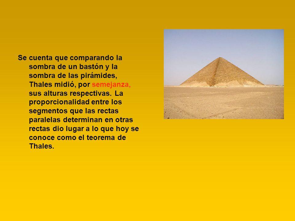 Se cuenta que comparando la sombra de un bastón y la sombra de las pirámides, Thales midió, por semejanza, sus alturas respectivas. La proporcionalida