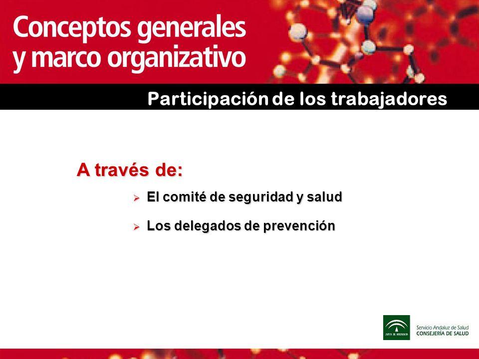 Participación de los trabajadores A través de: El comité de seguridad y salud El comité de seguridad y salud Los delegados de prevención Los delegados