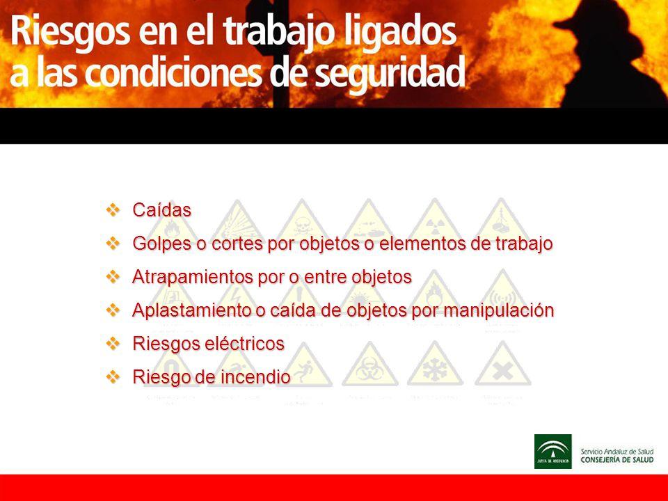 Caídas Caídas Golpes o cortes por objetos o elementos de trabajo Golpes o cortes por objetos o elementos de trabajo Atrapamientos por o entre objetos