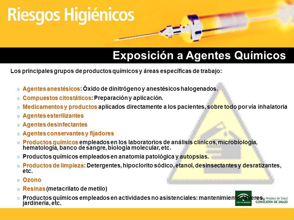 Exposición a Agentes Químicos Los principales grupos de productos químicos y áreas específicas de trabajo: n Agentes anestésicos n Agentes anestésicos
