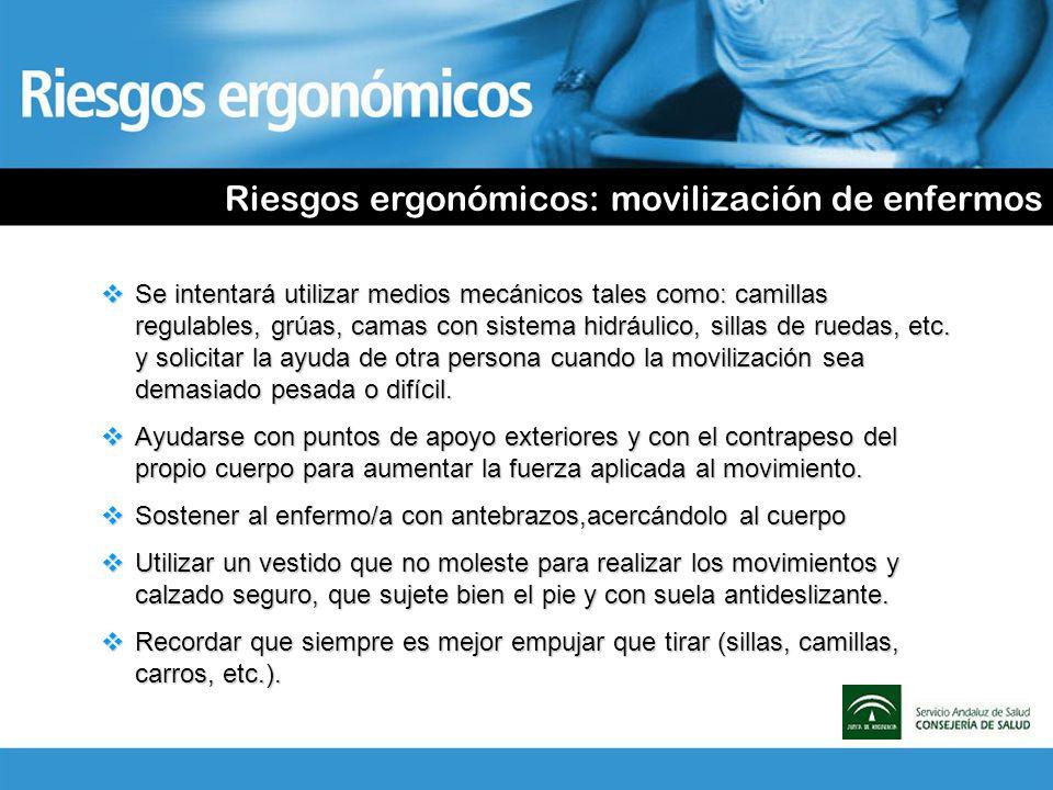 Riesgos ergonómicos: movilización de enfermos Se intentará utilizar medios mecánicos tales como: camillas regulables, grúas, camas con sistema hidrául