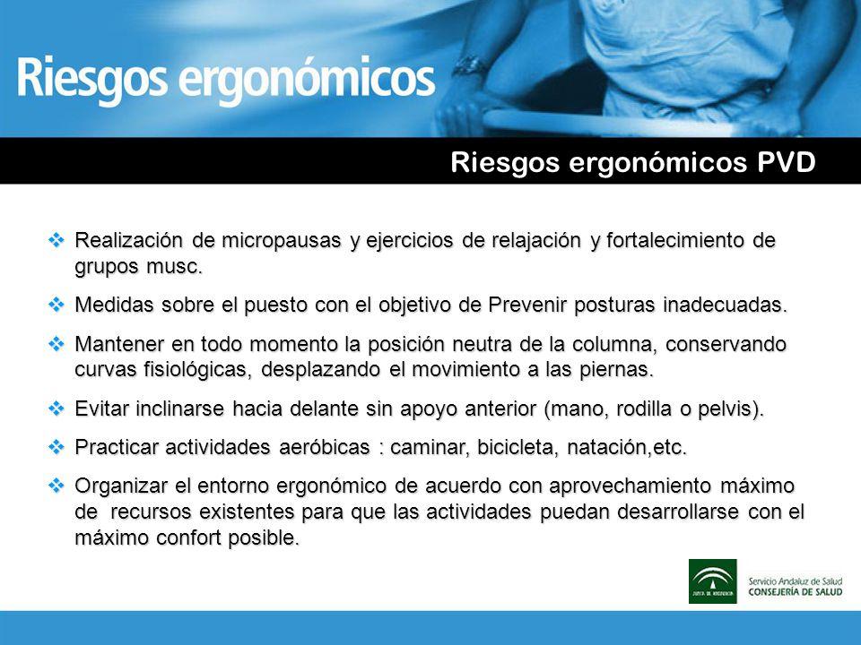 Riesgos ergonómicos PVD Realización de micropausas y ejercicios de relajación y fortalecimiento de grupos musc. Realización de micropausas y ejercicio