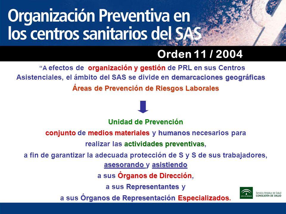 Orden 11 / 2004 organización y gestión demarcaciones geográficas A efectos de organización y gestión de PRL en sus Centros Asistenciales, el ámbito de