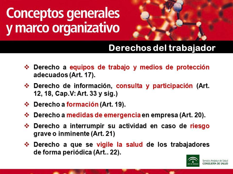 Derechos del trabajador Derecho a equipos de trabajo y medios de protección adecuados (Art. 17). Derecho a equipos de trabajo y medios de protección a