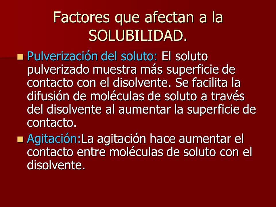 Factores que afectan a la SOLUBILIDAD. Pulverización del soluto: El soluto pulverizado muestra más superficie de contacto con el disolvente. Se facili