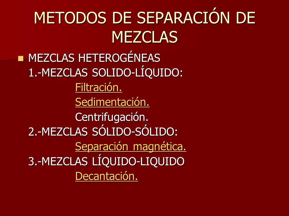 METODOS DE SEPARACIÓN DE MEZCLAS MEZCLAS HETEROGÉNEAS MEZCLAS HETEROGÉNEAS 1.-MEZCLAS SOLIDO-LÍQUIDO: Filtración. Sedimentación. Centrifugación. 2.-ME