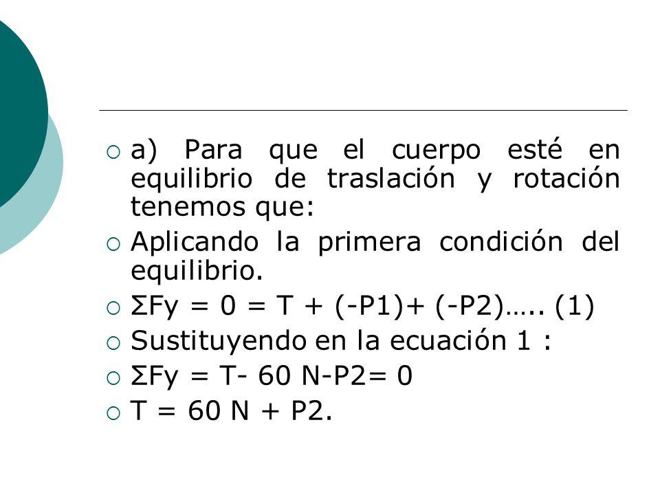 a) Para que el cuerpo esté en equilibrio de traslación y rotación tenemos que: Aplicando la primera condición del equilibrio.