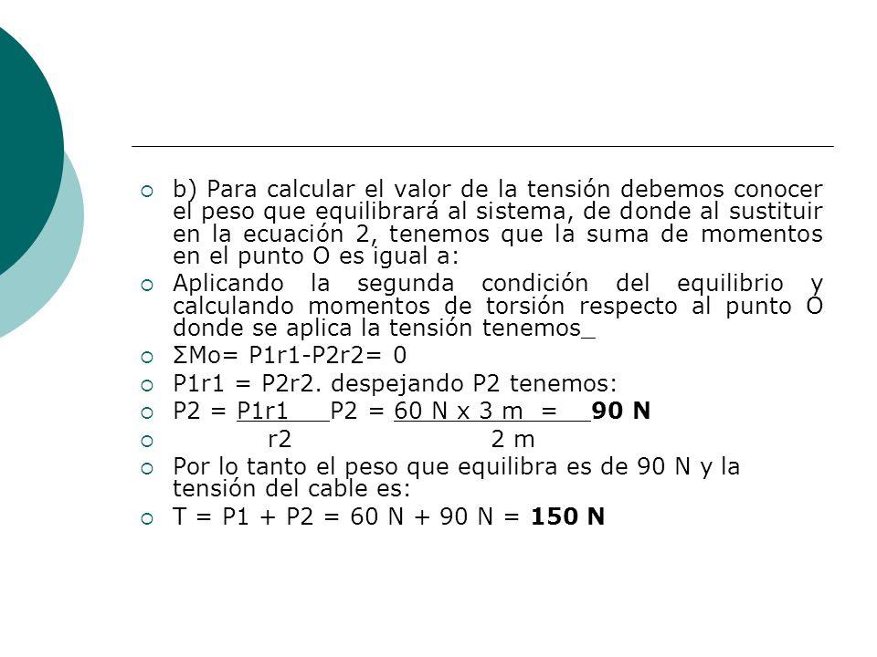 b) Para calcular el valor de la tensión debemos conocer el peso que equilibrará al sistema, de donde al sustituir en la ecuación 2, tenemos que la suma de momentos en el punto O es igual a: Aplicando la segunda condición del equilibrio y calculando momentos de torsión respecto al punto O donde se aplica la tensión tenemos_ ΣMo= P1r1-P2r2= 0 P1r1 = P2r2.