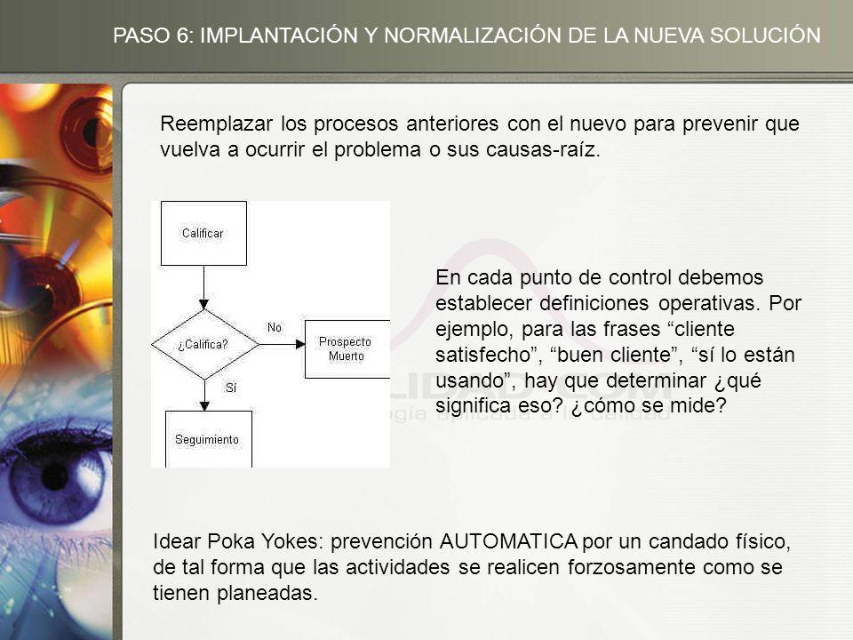 Reemplazar los procesos anteriores con el nuevo para prevenir que vuelva a ocurrir el problema o sus causas-raíz.