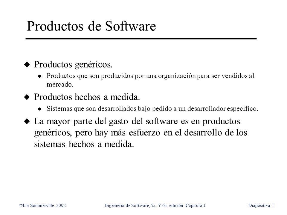 ©Ian Sommerville 2002Ingeniería de Software, 5a. Y 6a. edición. Capitulo 1Diapositiva1 Productos de Software u Productos genéricos. l Productos que so