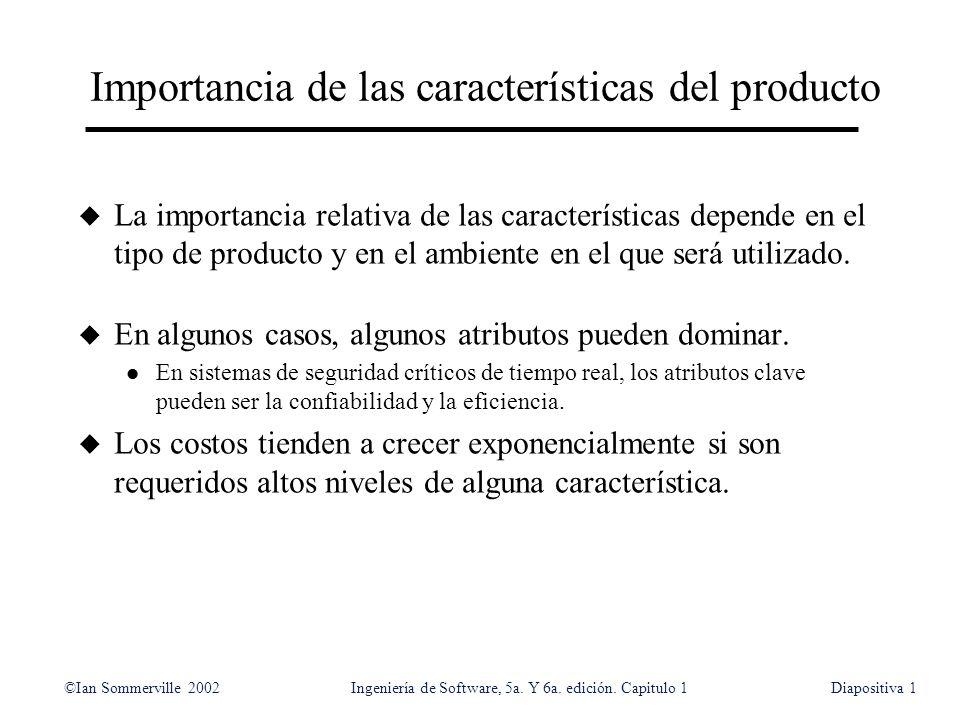 ©Ian Sommerville 2002Ingeniería de Software, 5a. Y 6a. edición. Capitulo 1Diapositiva1 Importancia de las características del producto u La importanci