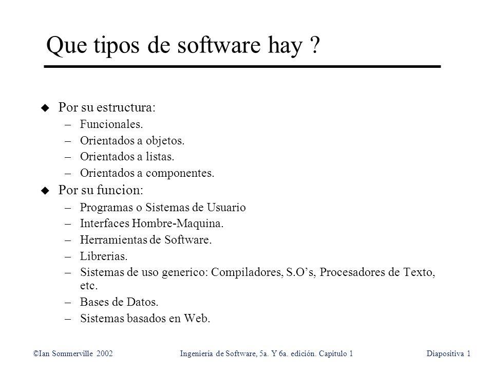 ©Ian Sommerville 2002Ingeniería de Software, 5a. Y 6a. edición. Capitulo 1Diapositiva1 Que tipos de software hay ? u Por su estructura: –Funcionales.