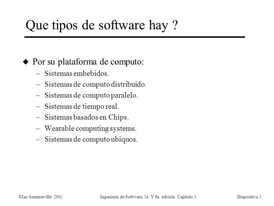 ©Ian Sommerville 2002Ingeniería de Software, 5a. Y 6a. edición. Capitulo 1Diapositiva1 Que tipos de software hay ? u Por su plataforma de computo: –Si