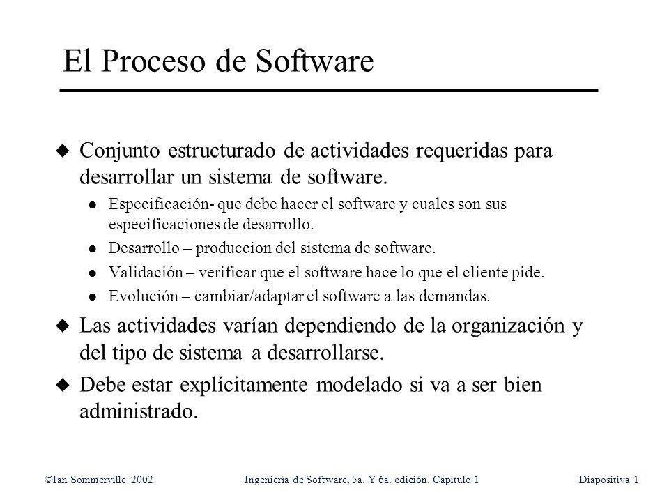 ©Ian Sommerville 2002Ingeniería de Software, 5a. Y 6a. edición. Capitulo 1Diapositiva1 El Proceso de Software u Conjunto estructurado de actividades r