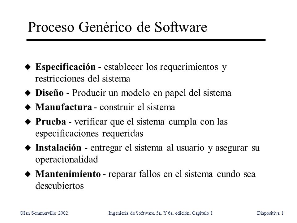©Ian Sommerville 2002Ingeniería de Software, 5a. Y 6a. edición. Capitulo 1Diapositiva1 Proceso Genérico de Software u Especificación - establecer los
