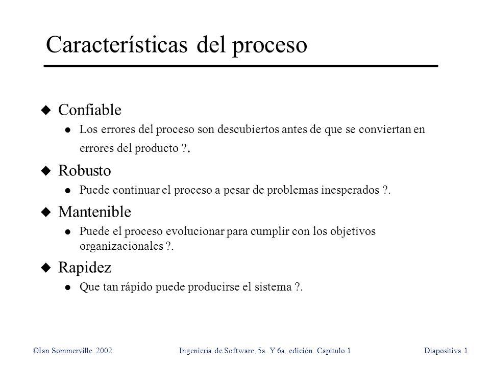 ©Ian Sommerville 2002Ingeniería de Software, 5a. Y 6a. edición. Capitulo 1Diapositiva1 Características del proceso u Confiable l Los errores del proce
