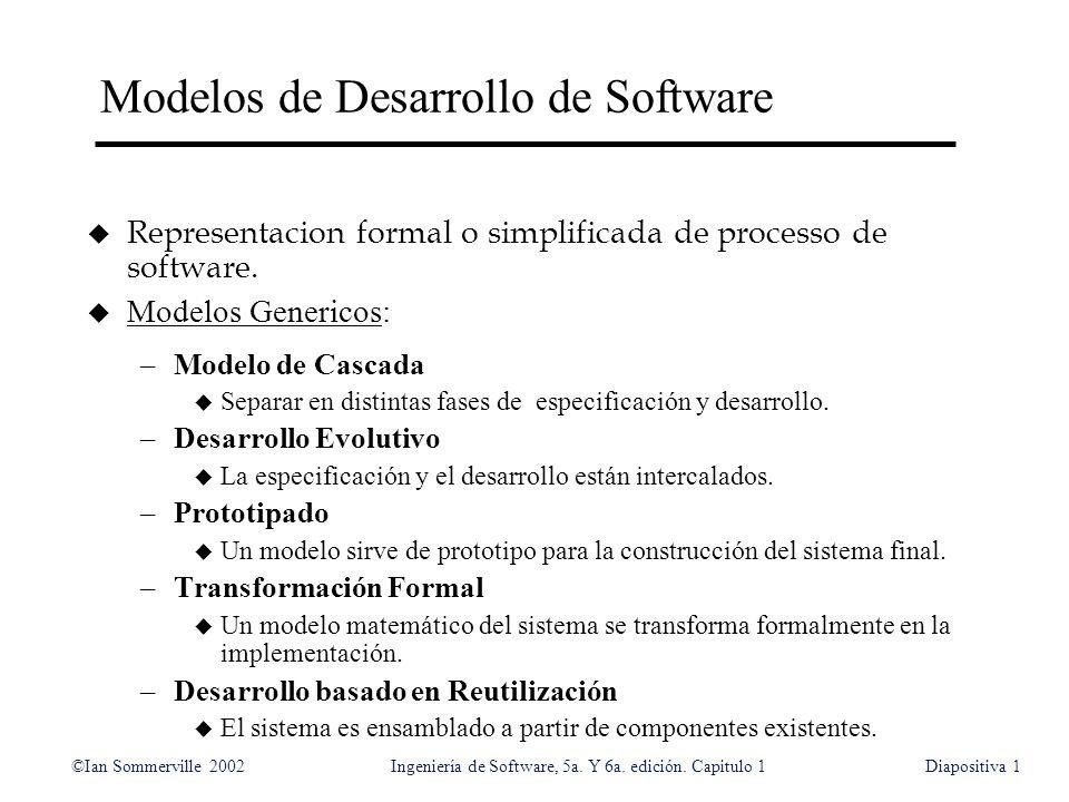 ©Ian Sommerville 2002Ingeniería de Software, 5a. Y 6a. edición. Capitulo 1Diapositiva1 Modelos de Desarrollo de Software u Representacion formal o sim