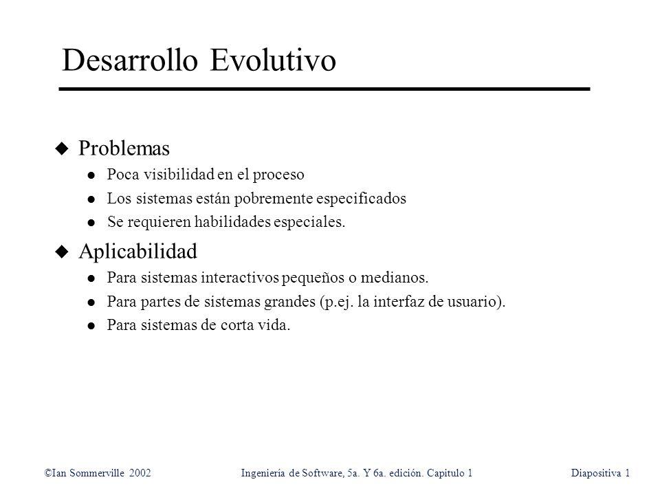 ©Ian Sommerville 2002Ingeniería de Software, 5a. Y 6a. edición. Capitulo 1Diapositiva1 Desarrollo Evolutivo u Problemas l Poca visibilidad en el proce