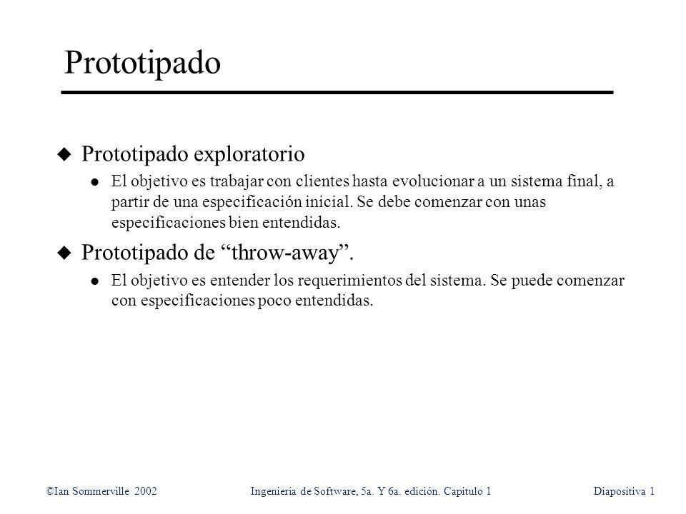 ©Ian Sommerville 2002Ingeniería de Software, 5a. Y 6a. edición. Capitulo 1Diapositiva1 Prototipado u Prototipado exploratorio l El objetivo es trabaja