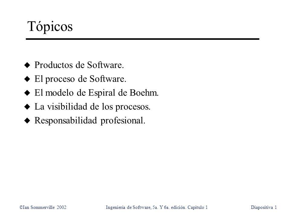 ©Ian Sommerville 2002Ingeniería de Software, 5a. Y 6a. edición. Capitulo 1Diapositiva1 Tópicos u Productos de Software. u El proceso de Software. u El