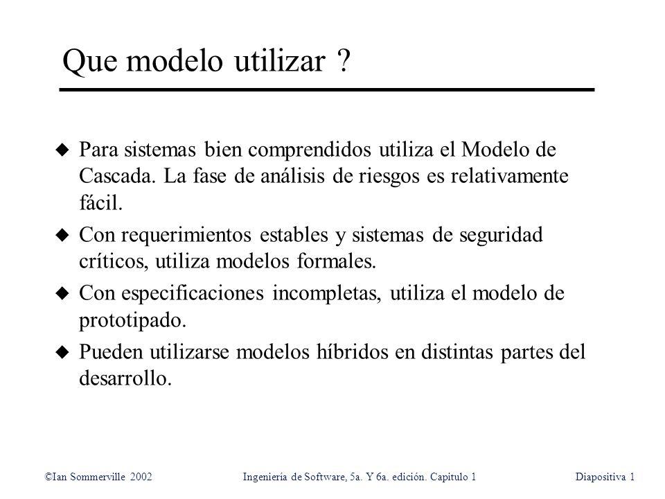 ©Ian Sommerville 2002Ingeniería de Software, 5a. Y 6a. edición. Capitulo 1Diapositiva1 Que modelo utilizar ? u Para sistemas bien comprendidos utiliza