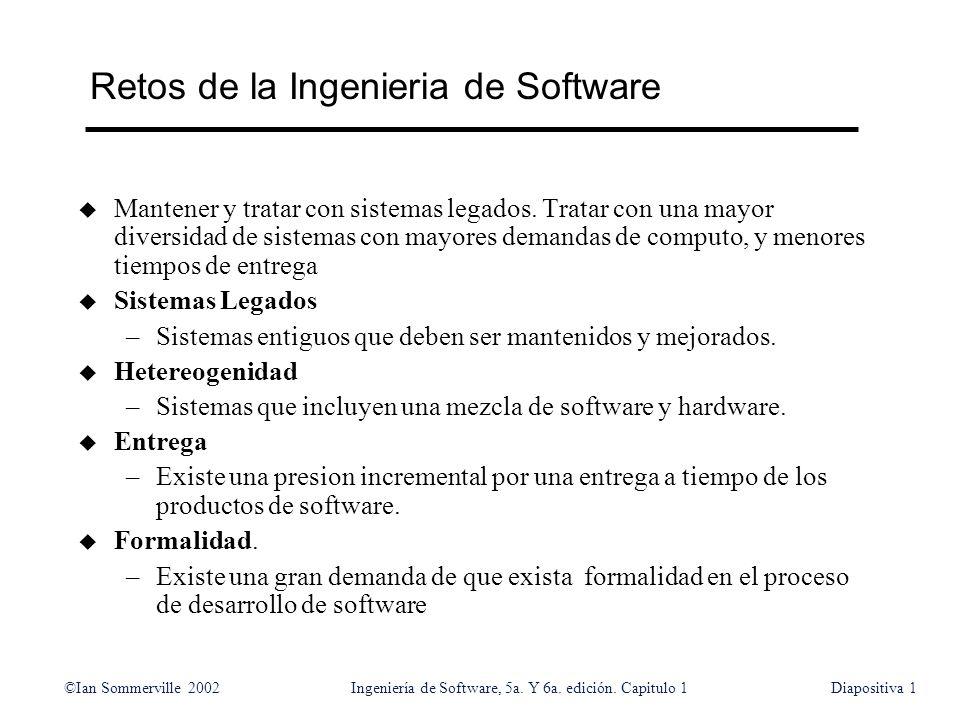 ©Ian Sommerville 2002Ingeniería de Software, 5a. Y 6a. edición. Capitulo 1Diapositiva1 Retos de la Ingenieria de Software u Mantener y tratar con sist