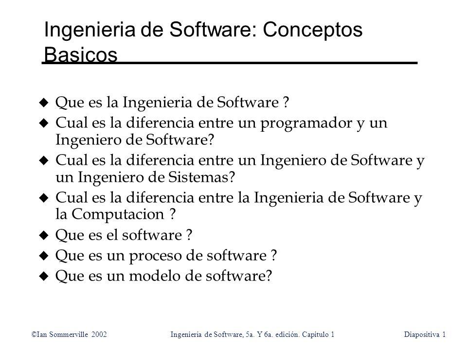 ©Ian Sommerville 2002Ingeniería de Software, 5a. Y 6a. edición. Capitulo 1Diapositiva1 Ingenieria de Software: Conceptos Basicos u Que es la Ingenieri