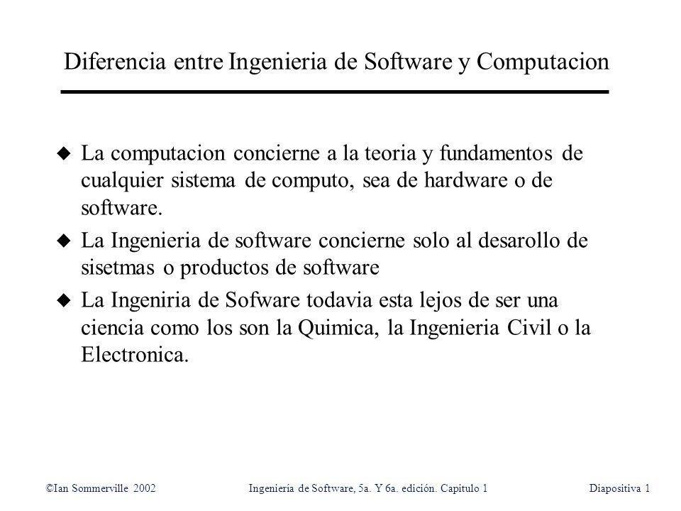 ©Ian Sommerville 2002Ingeniería de Software, 5a. Y 6a. edición. Capitulo 1Diapositiva1 Diferencia entre Ingenieria de Software y Computacion u La comp