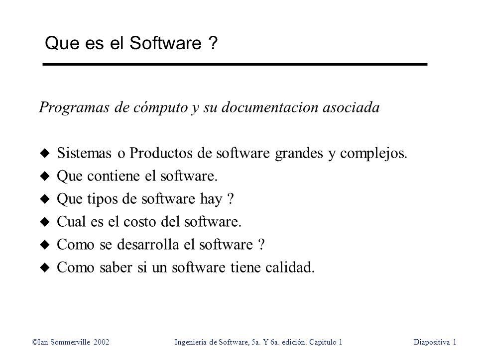 ©Ian Sommerville 2002Ingeniería de Software, 5a. Y 6a. edición. Capitulo 1Diapositiva1 Que es el Software ? Programas de cómputo y su documentacion as
