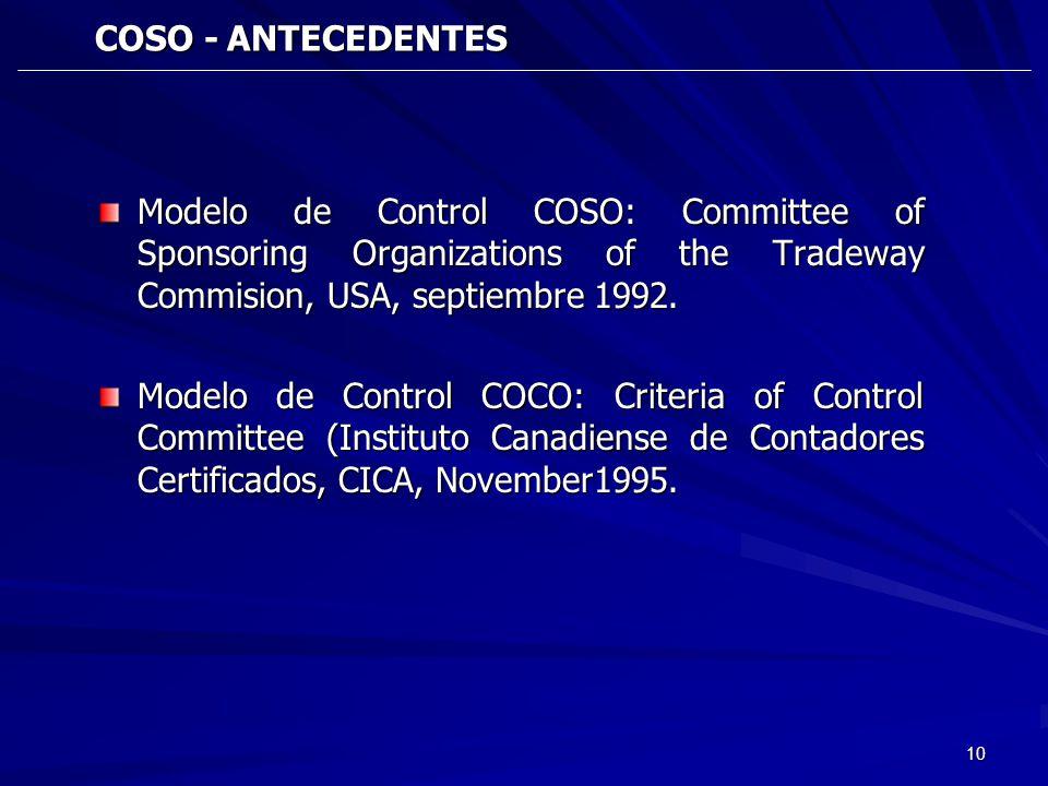 10 COSO - ANTECEDENTES COSO - ANTECEDENTES Modelo de Control COSO: Committee of Sponsoring Organizations of the Tradeway Commision, USA, septiembre 19