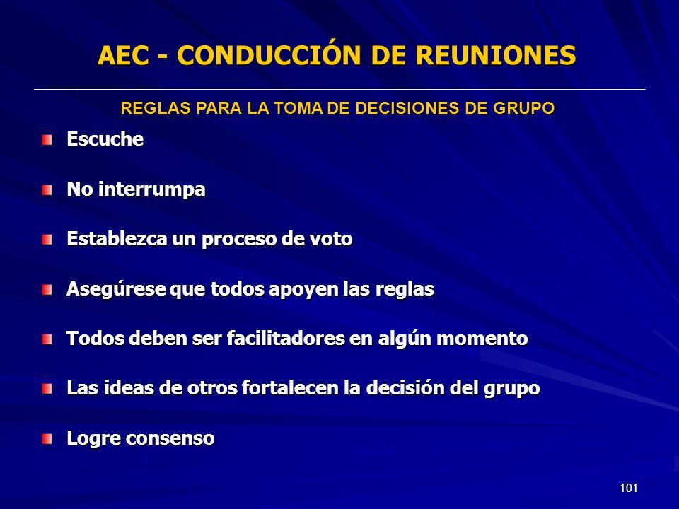 101 AEC - CONDUCCIÓN DE REUNIONES Escuche No interrumpa Establezca un proceso de voto Asegúrese que todos apoyen las reglas Todos deben ser facilitado