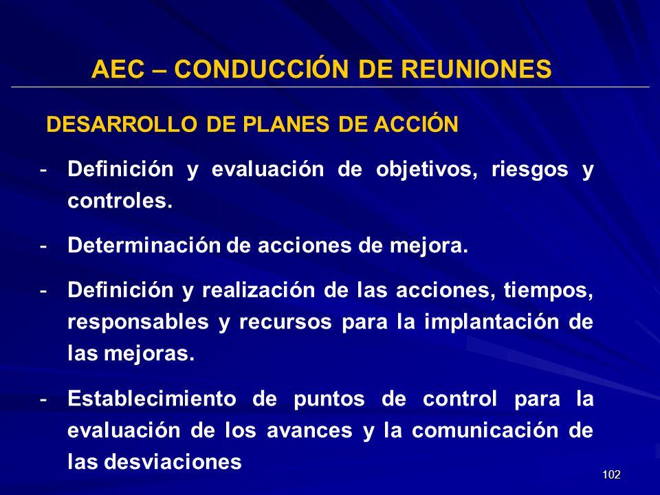 102 AEC – CONDUCCIÓN DE REUNIONES -Definición y evaluación de objetivos, riesgos y controles. -Determinación de acciones de mejora. -Definición y real