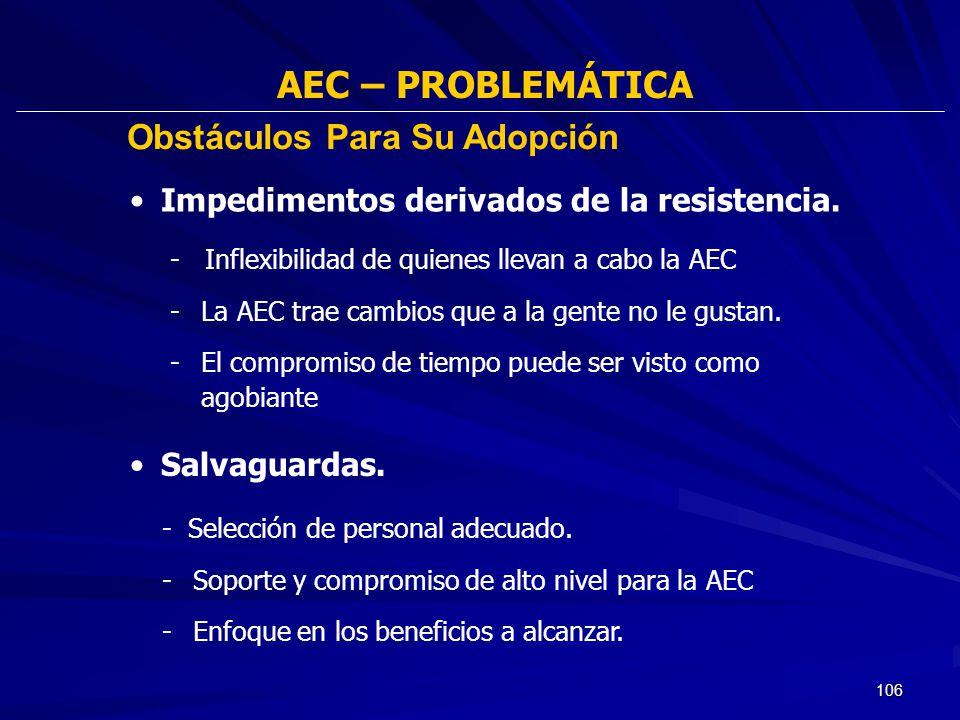 106 AEC – PROBLEMÁTICA - Inflexibilidad de quienes llevan a cabo la AEC -La AEC trae cambios que a la gente no le gustan. -El compromiso de tiempo pue
