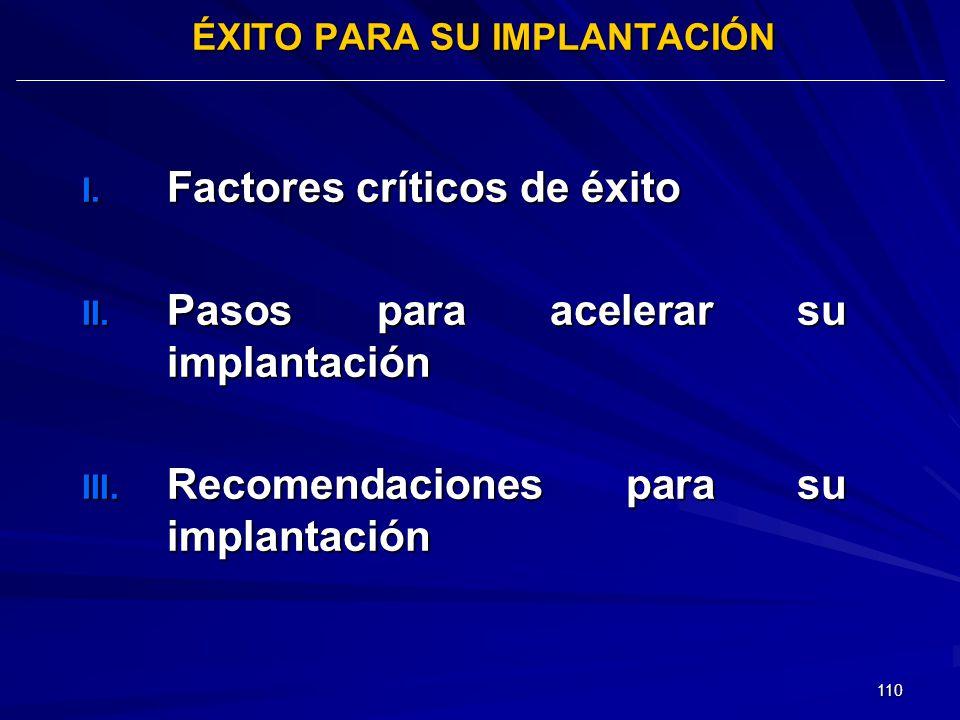 110 ÉXITO PARA SU IMPLANTACIÓN I. Factores críticos de éxito II. Pasos para acelerar su implantación III. Recomendaciones para su implantación
