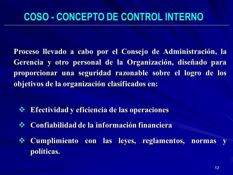 12 Proceso llevado a cabo por el Consejo de Administración, la Gerencia y otro personal de la Organización, diseñado para proporcionar una seguridad r