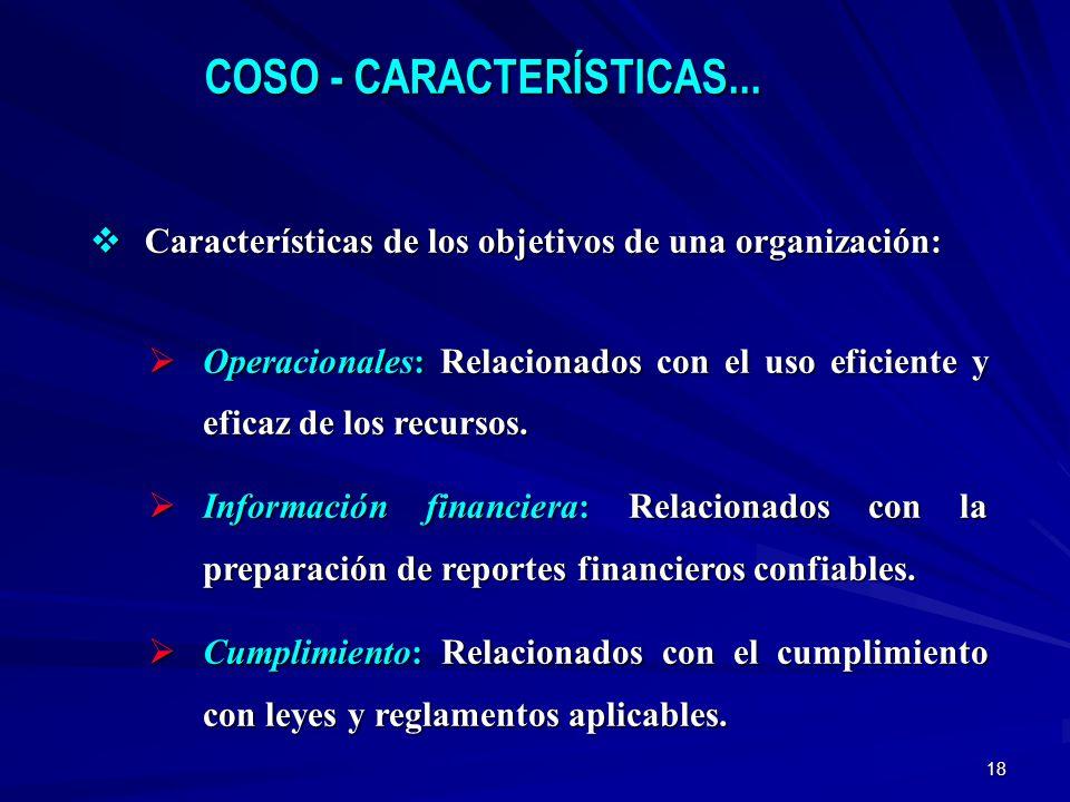 18 Características de los objetivos de una organización: Características de los objetivos de una organización: Operacionales: Relacionados con el uso