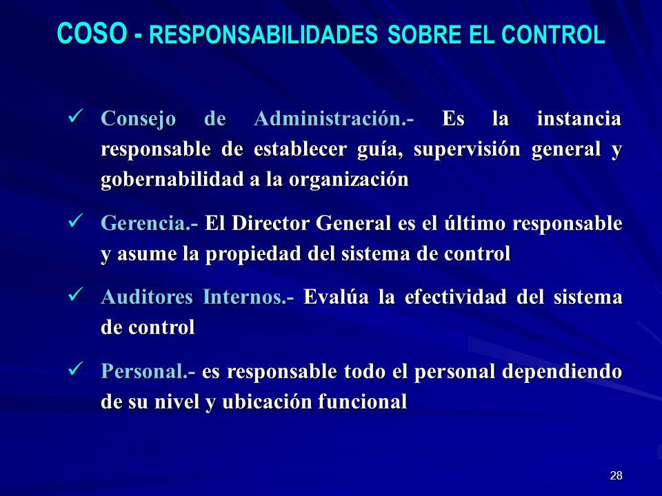 28 COSO - RESPONSABILIDADES SOBRE EL CONTROL Consejo de Administración.- Es la instancia responsable de establecer guía, supervisión general y goberna