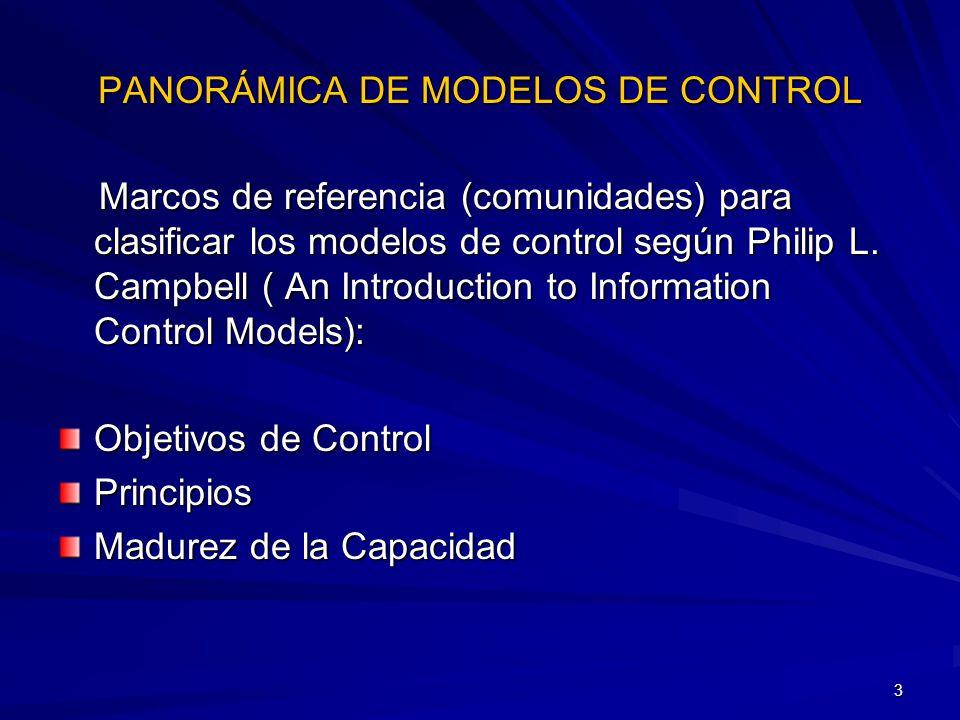 3 Marcos de referencia (comunidades) para clasificar los modelos de control según Philip L. Campbell ( An Introduction to Information Control Models):