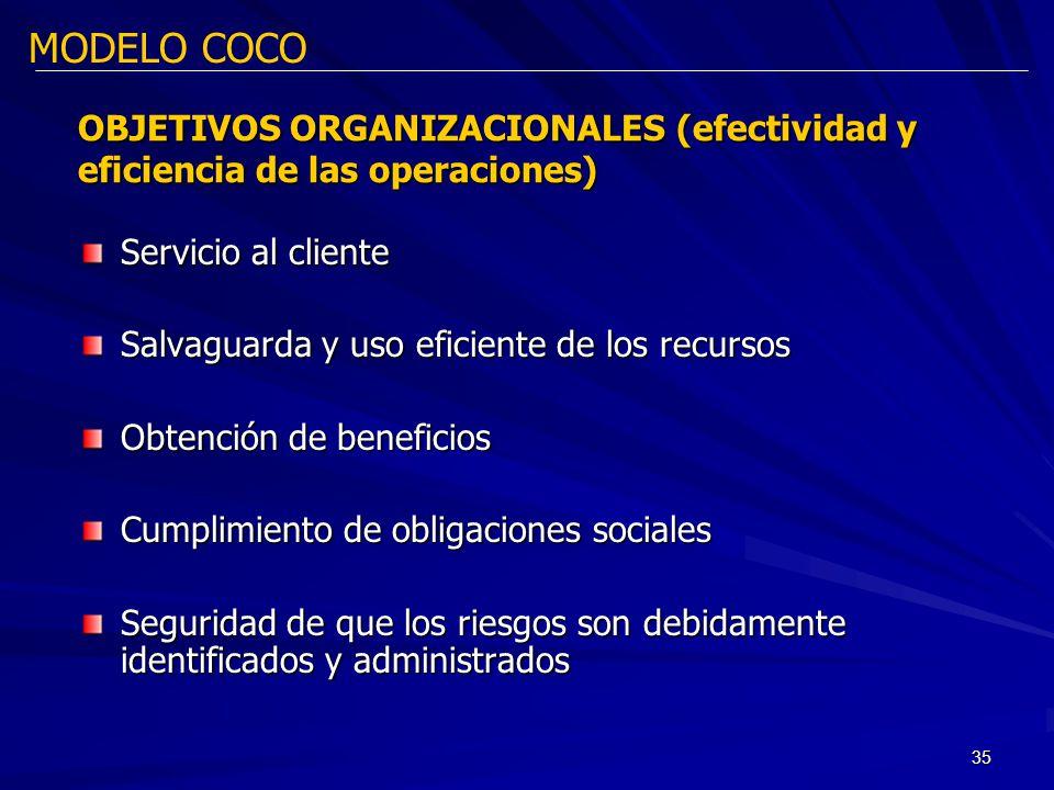 35 Servicio al cliente Salvaguarda y uso eficiente de los recursos Obtención de beneficios Cumplimiento de obligaciones sociales Seguridad de que los