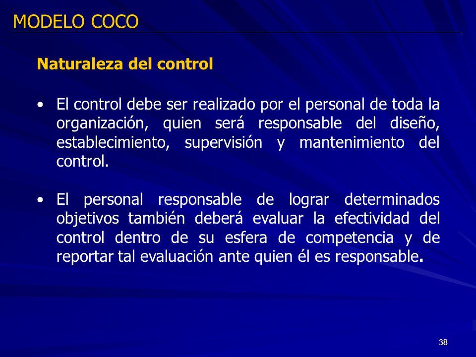 38 MODELO COCO Naturaleza del control El control debe ser realizado por el personal de toda la organización, quien será responsable del diseño, establ