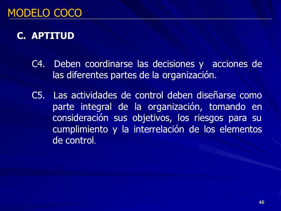 46 MODELO COCO C. APTITUD C4. Deben coordinarse las decisiones y acciones de las diferentes partes de la organización. C5. Las actividades de control