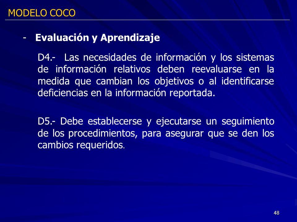 48 D4.- Las necesidades de información y los sistemas de información relativos deben reevaluarse en la medida que cambian los objetivos o al identific