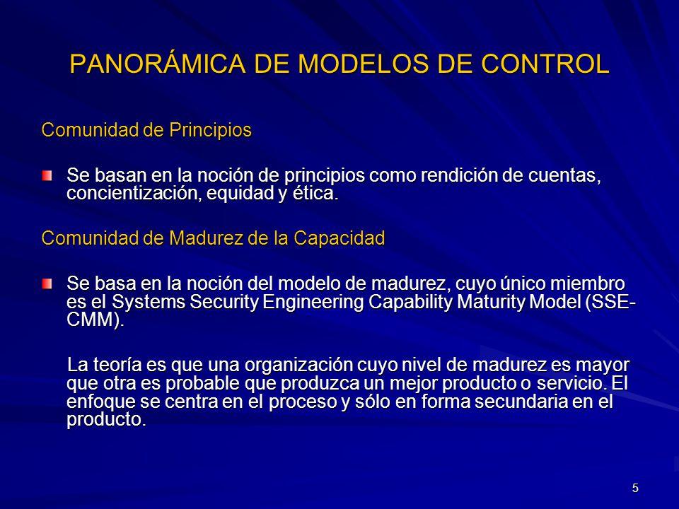 5 PANORÁMICA DE MODELOS DE CONTROL Comunidad de Principios Se basan en la noción de principios como rendición de cuentas, concientización, equidad y é
