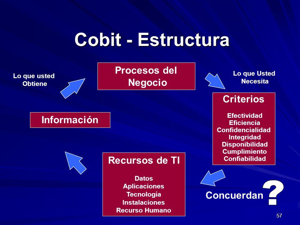 57 Procesos del Negocio Recursos de TI Datos Aplicaciones Tecnología Instalaciones Recurso Humano Información Lo que usted Obtiene Lo que Usted Necesi