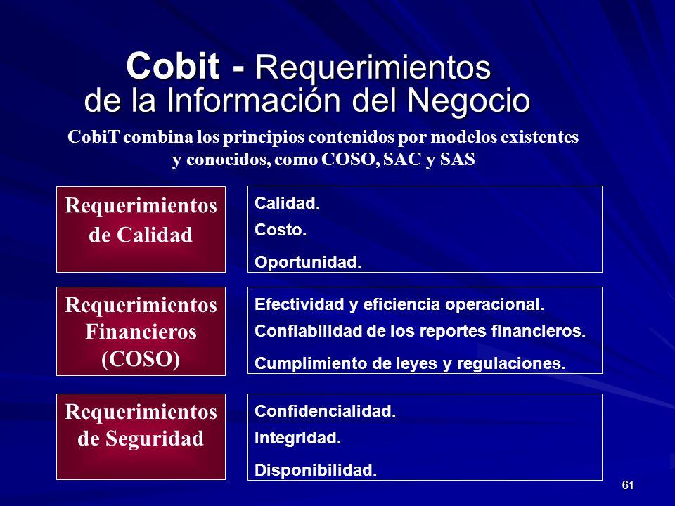 61 Cobit - Requerimientos de la Información del Negocio Cobit - Requerimientos de la Información del Negocio Requerimientos de Calidad Requerimientos