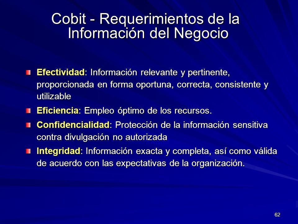 62 Efectividad: Información relevante y pertinente, proporcionada en forma oportuna, correcta, consistente y utilizable Eficiencia: Empleo óptimo de l
