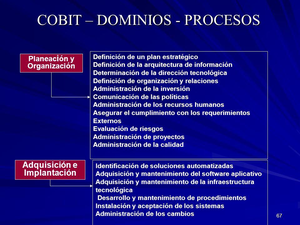 67 COBIT – DOMINIOS - PROCESOS Adquisición e Implantación Identificación de soluciones automatizadas Adquisición y mantenimiento del software aplicati