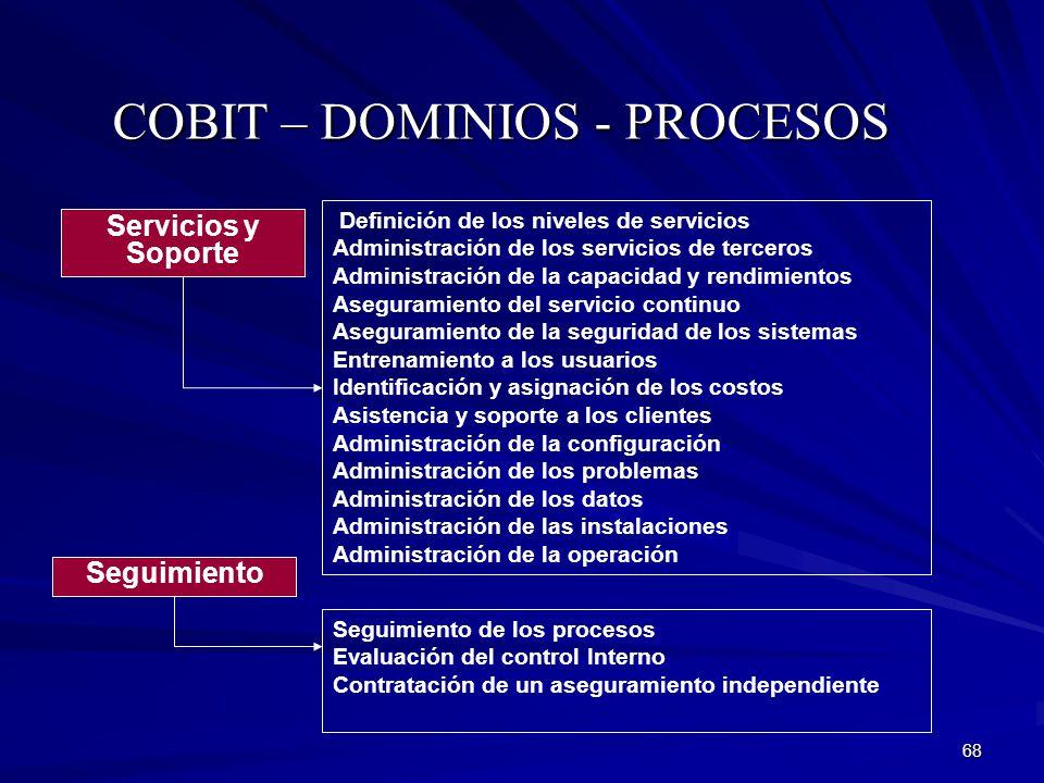 68 COBIT – DOMINIOS - PROCESOS Servicios y Soporte Definición de los niveles de servicios Administración de los servicios de terceros Administración d