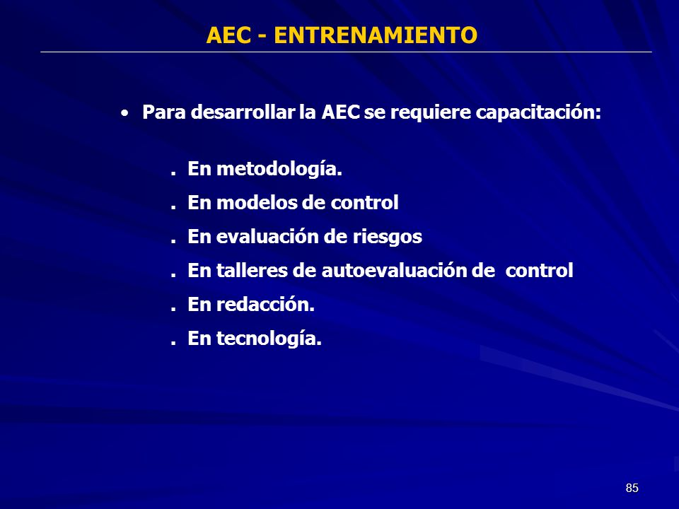 85 AEC - ENTRENAMIENTO Para desarrollar la AEC se requiere capacitación:. En metodología.. En modelos de control. En evaluación de riesgos. En tallere
